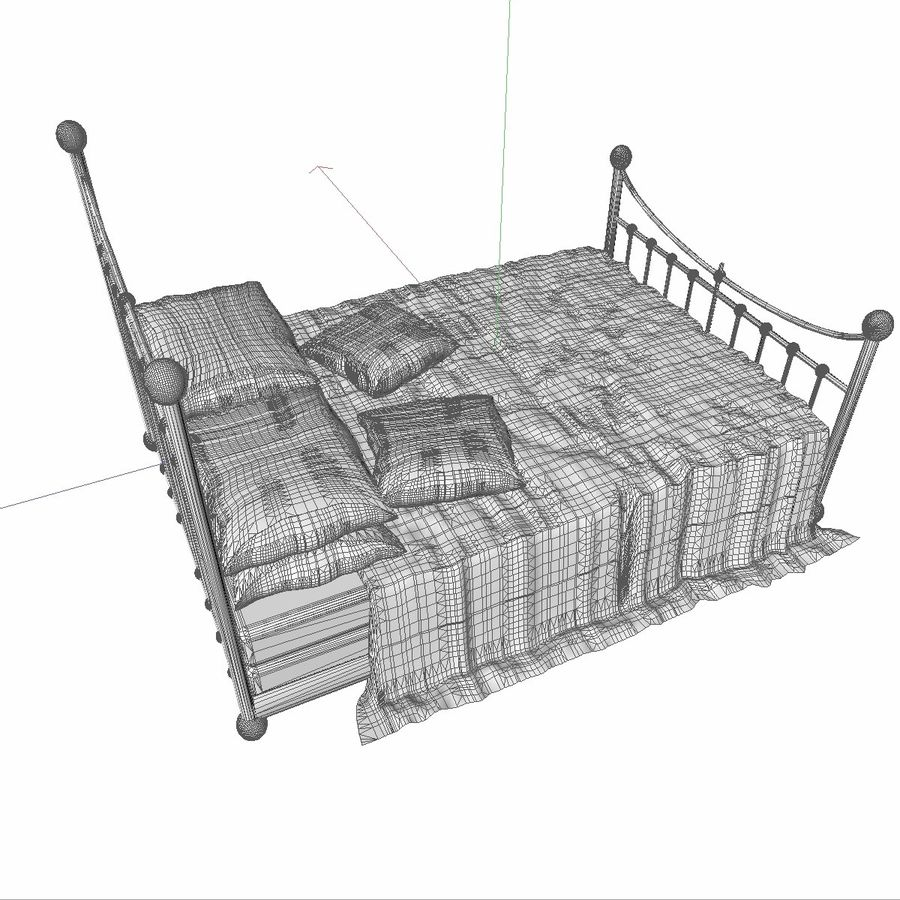 Metal Bed 2 White Sheet royalty-free 3d model - Preview no. 13