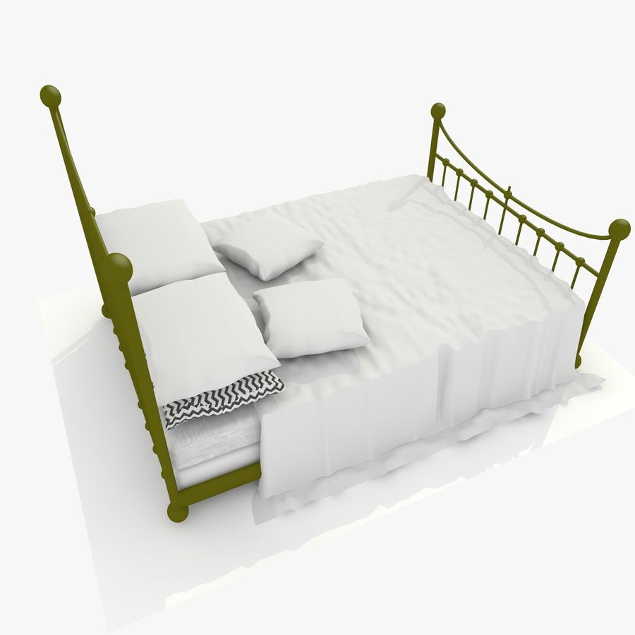 Metal Bed 2 White Sheet royalty-free 3d model - Preview no. 7