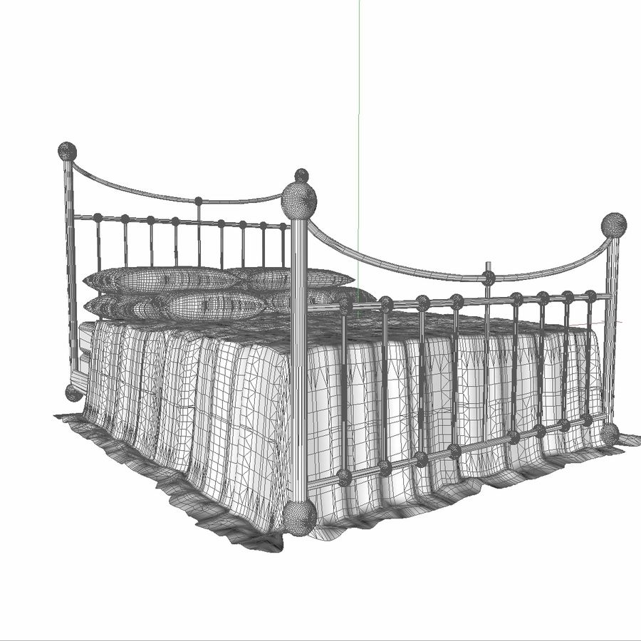 Metal Bed 2 White Sheet royalty-free 3d model - Preview no. 14