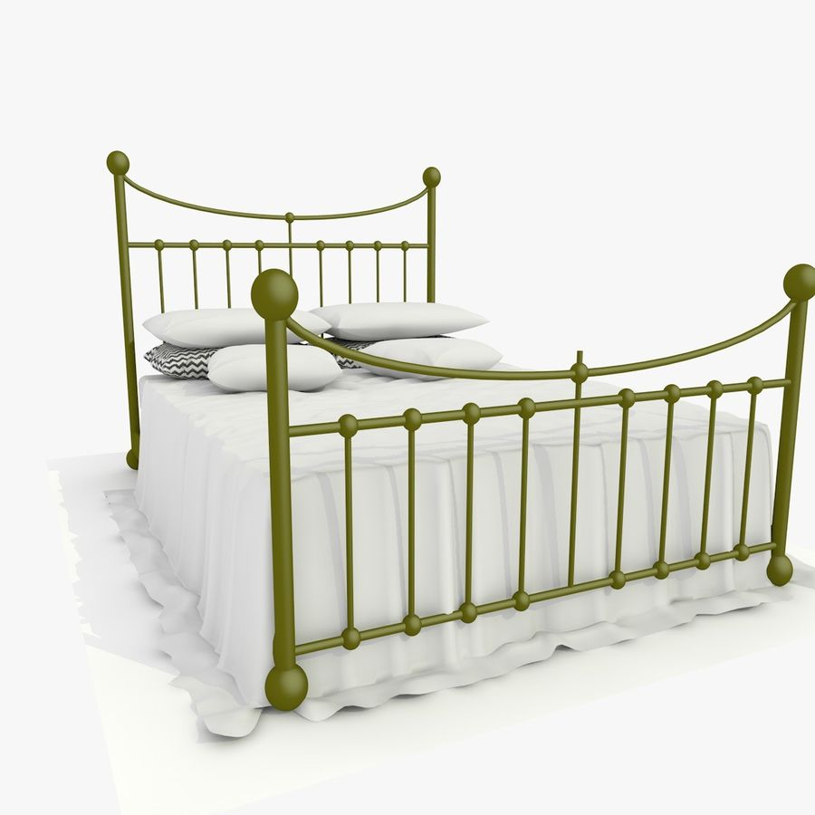 Metal Bed 2 White Sheet royalty-free 3d model - Preview no. 8