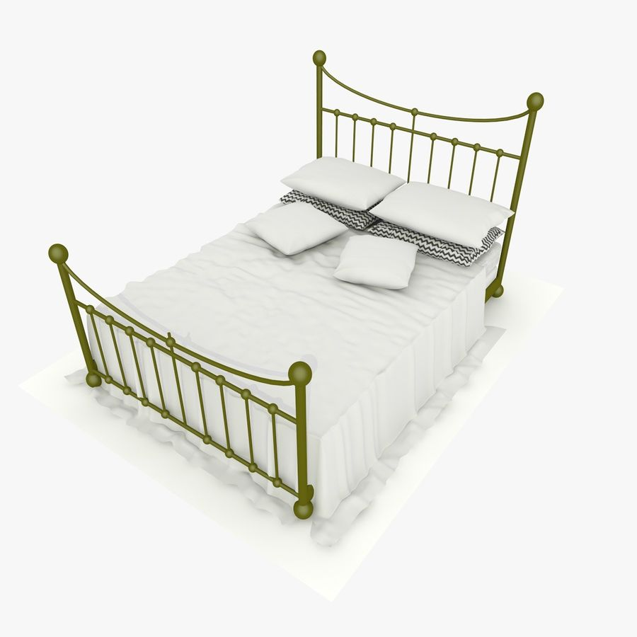 Metal Bed 2 White Sheet royalty-free 3d model - Preview no. 2