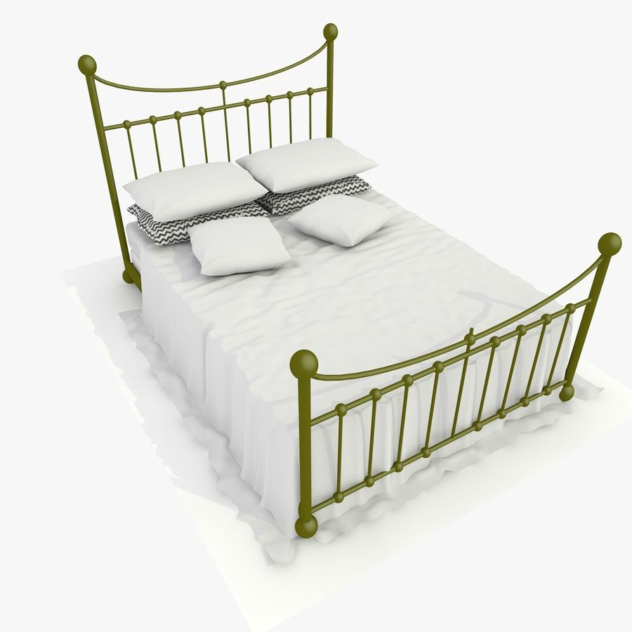 Metal Bed 2 White Sheet royalty-free 3d model - Preview no. 1