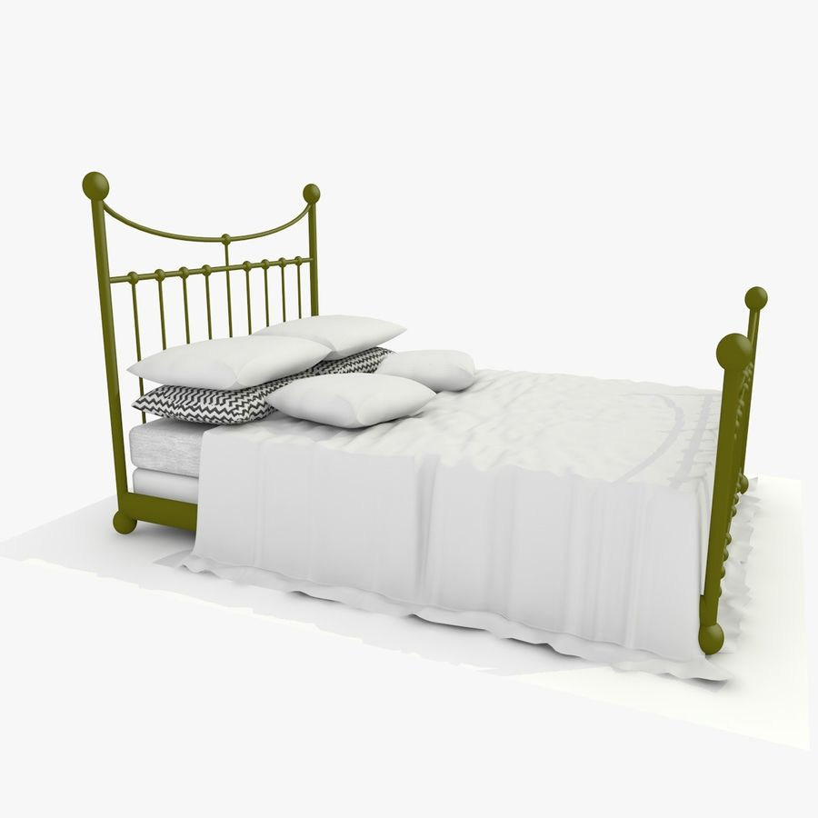 Metal Bed 2 White Sheet royalty-free 3d model - Preview no. 6