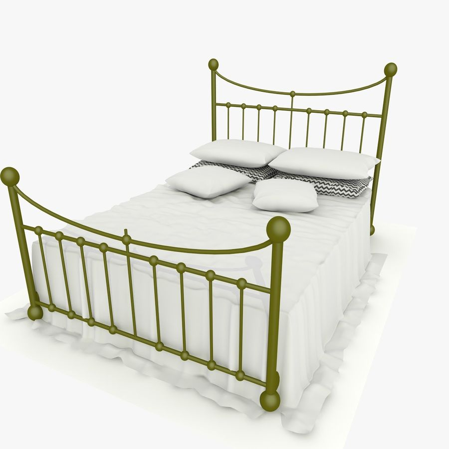 Metal Bed 2 White Sheet royalty-free 3d model - Preview no. 9