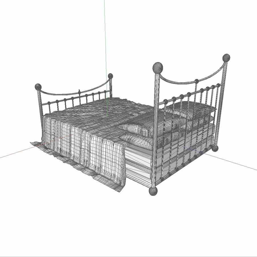 Metal Bed 2 White Sheet royalty-free 3d model - Preview no. 15