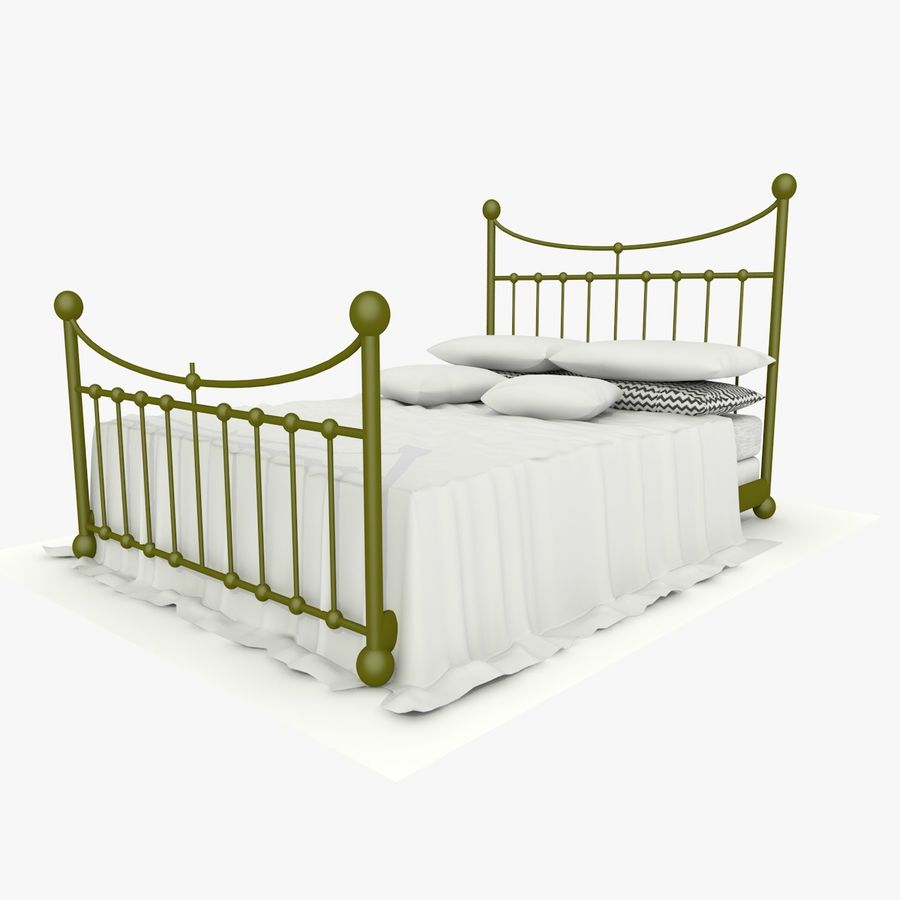 Metal Bed 2 White Sheet royalty-free 3d model - Preview no. 5