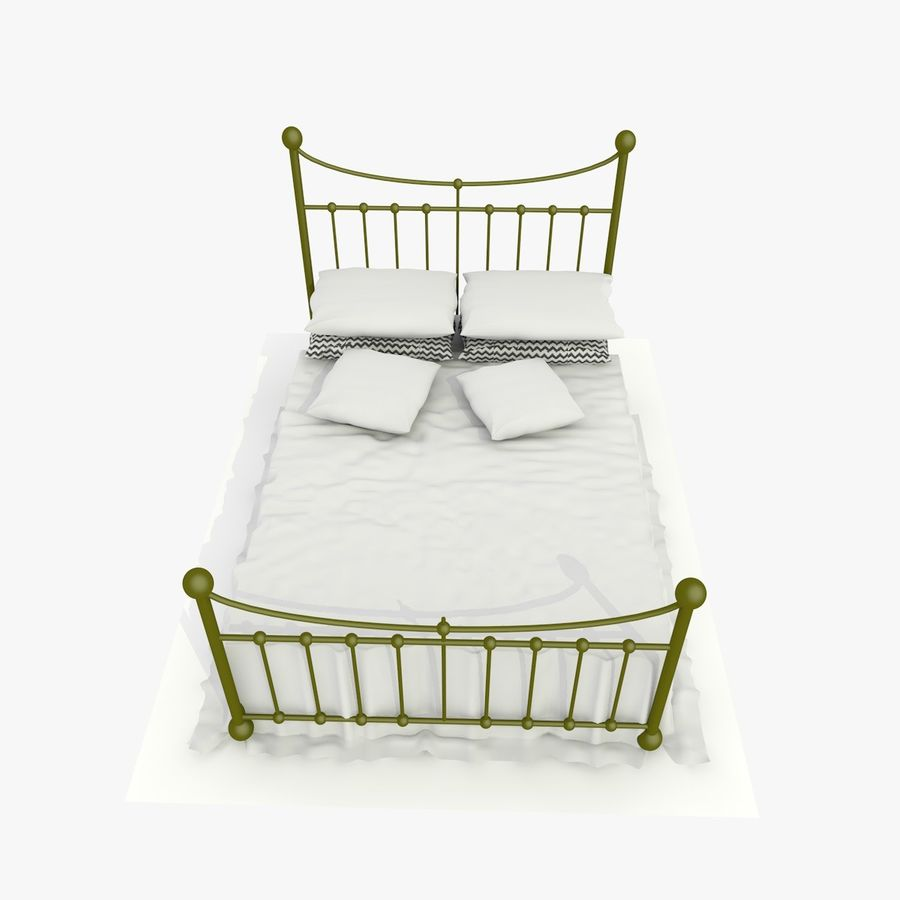 Metal Bed 2 White Sheet royalty-free 3d model - Preview no. 3