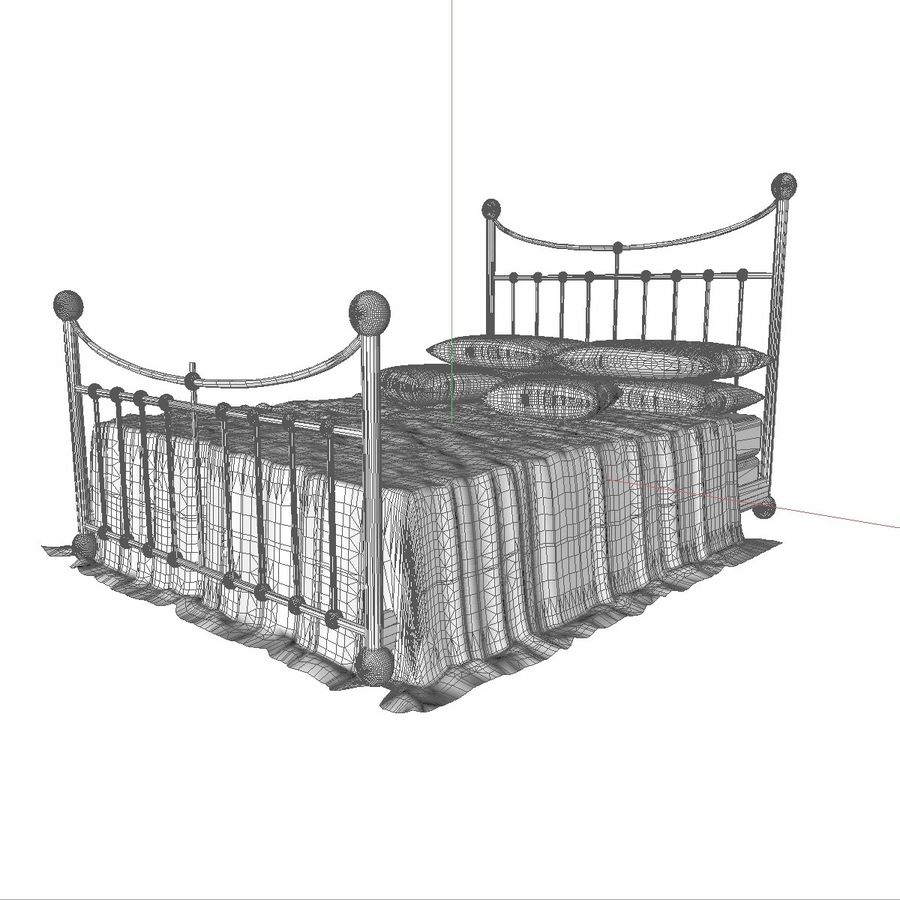 Metal Bed 2 White Sheet royalty-free 3d model - Preview no. 12