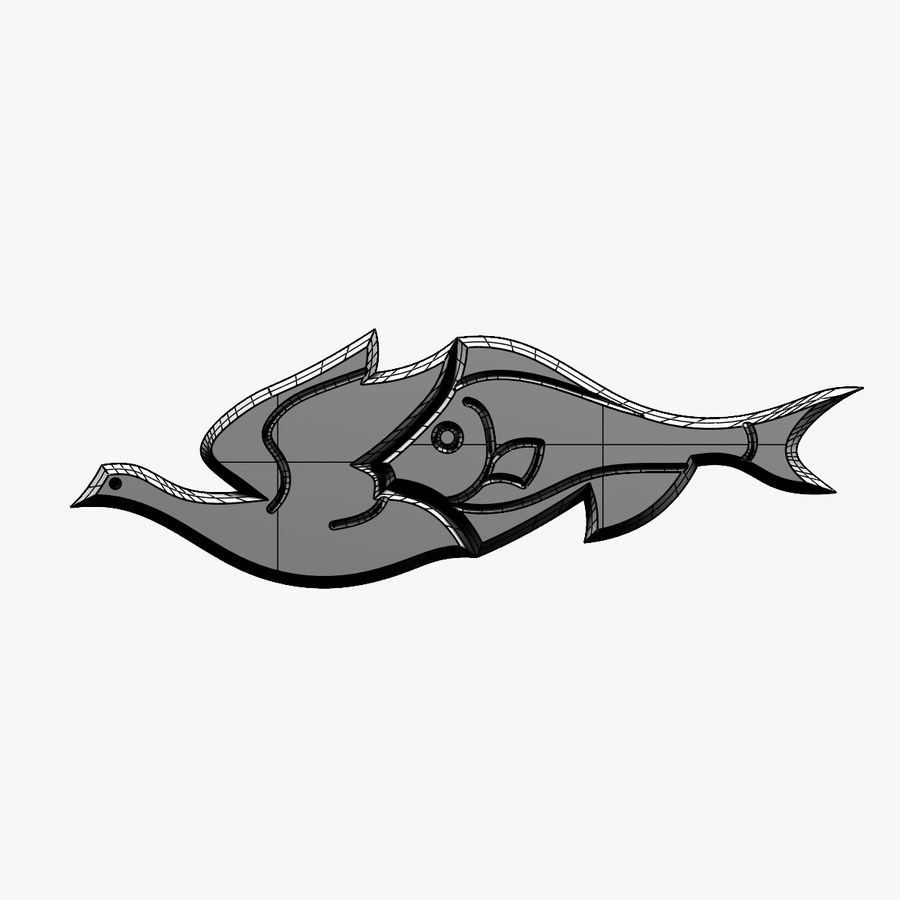 Fågel - fiskmönster royalty-free 3d model - Preview no. 10