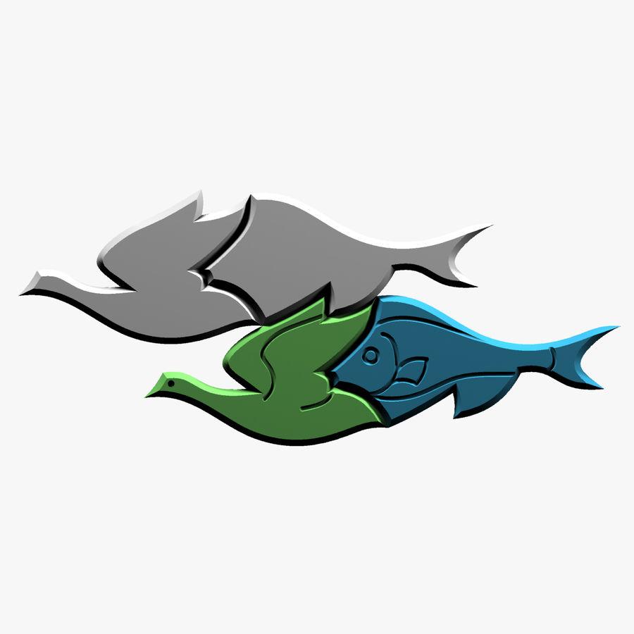 Fågel - fiskmönster royalty-free 3d model - Preview no. 4
