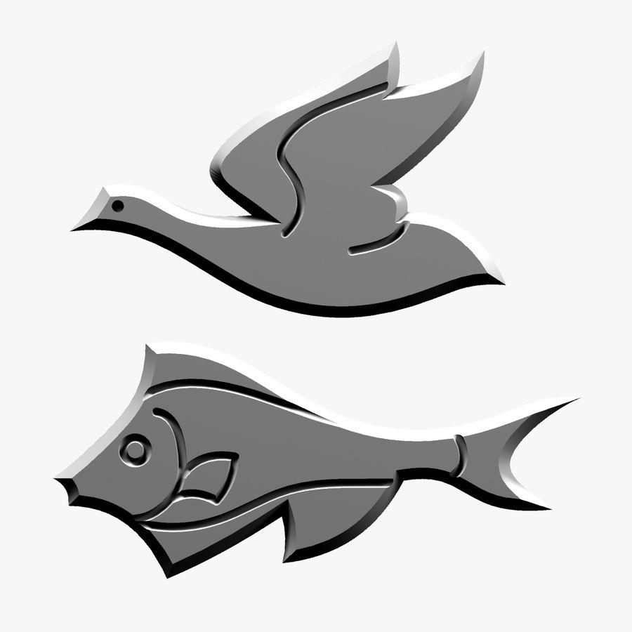 Fågel - fiskmönster royalty-free 3d model - Preview no. 11
