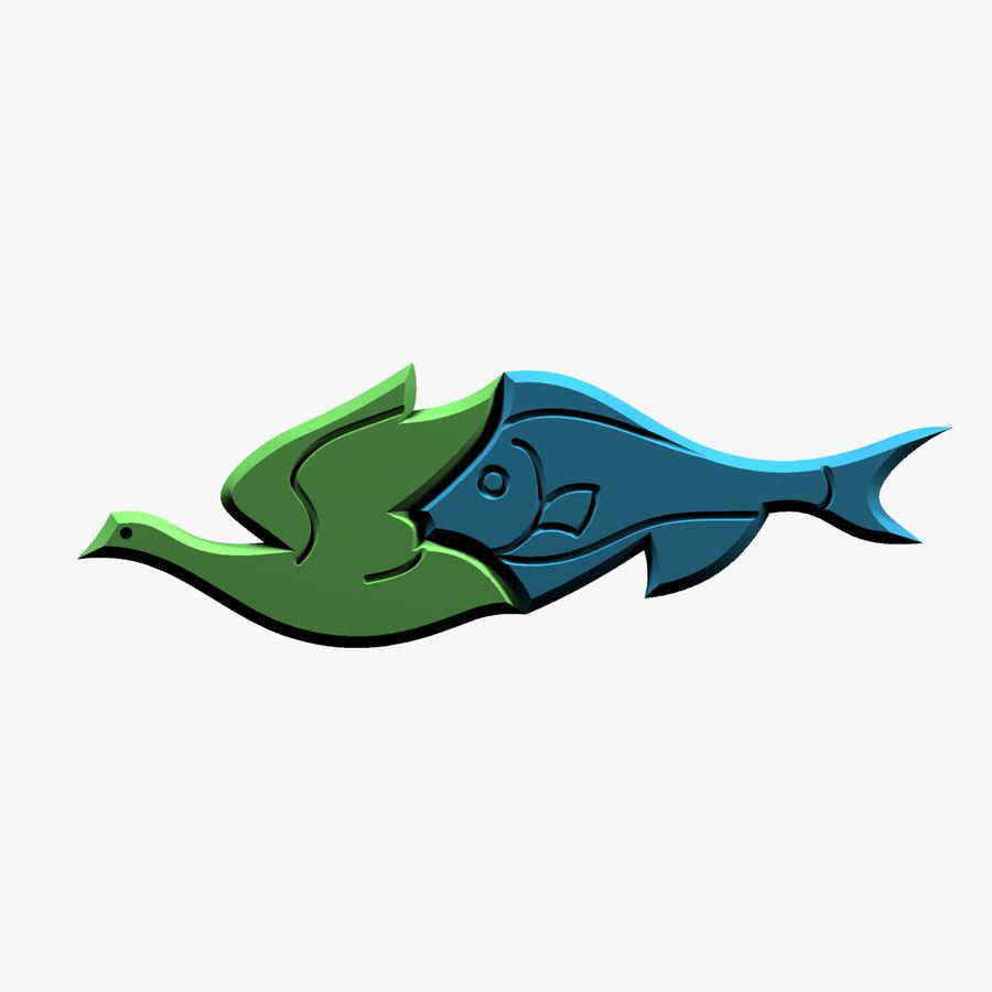 Fågel - fiskmönster royalty-free 3d model - Preview no. 5