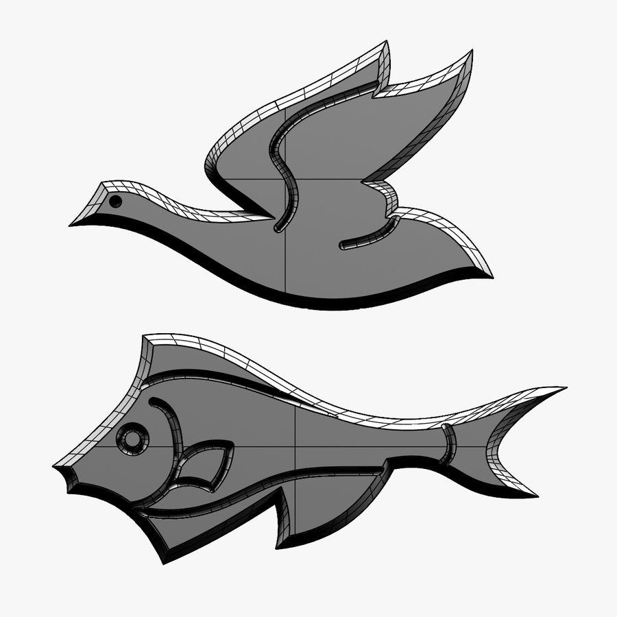 Fågel - fiskmönster royalty-free 3d model - Preview no. 12