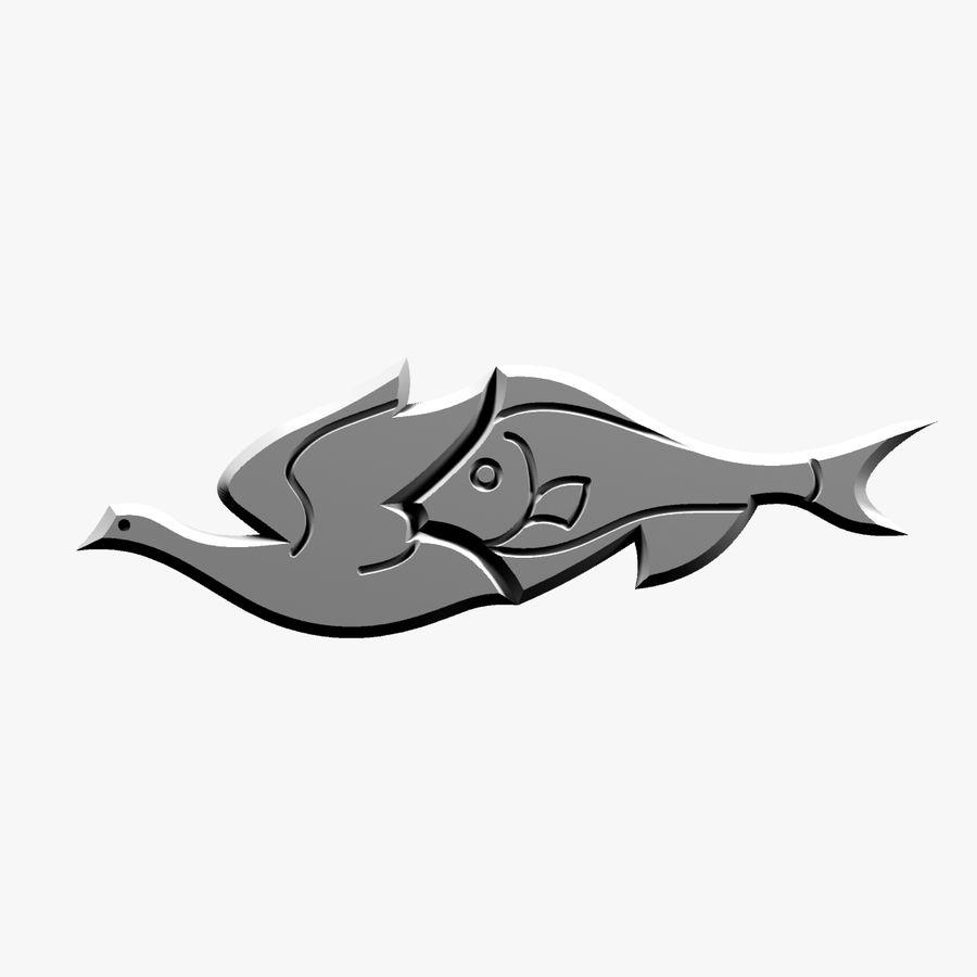 Fågel - fiskmönster royalty-free 3d model - Preview no. 9