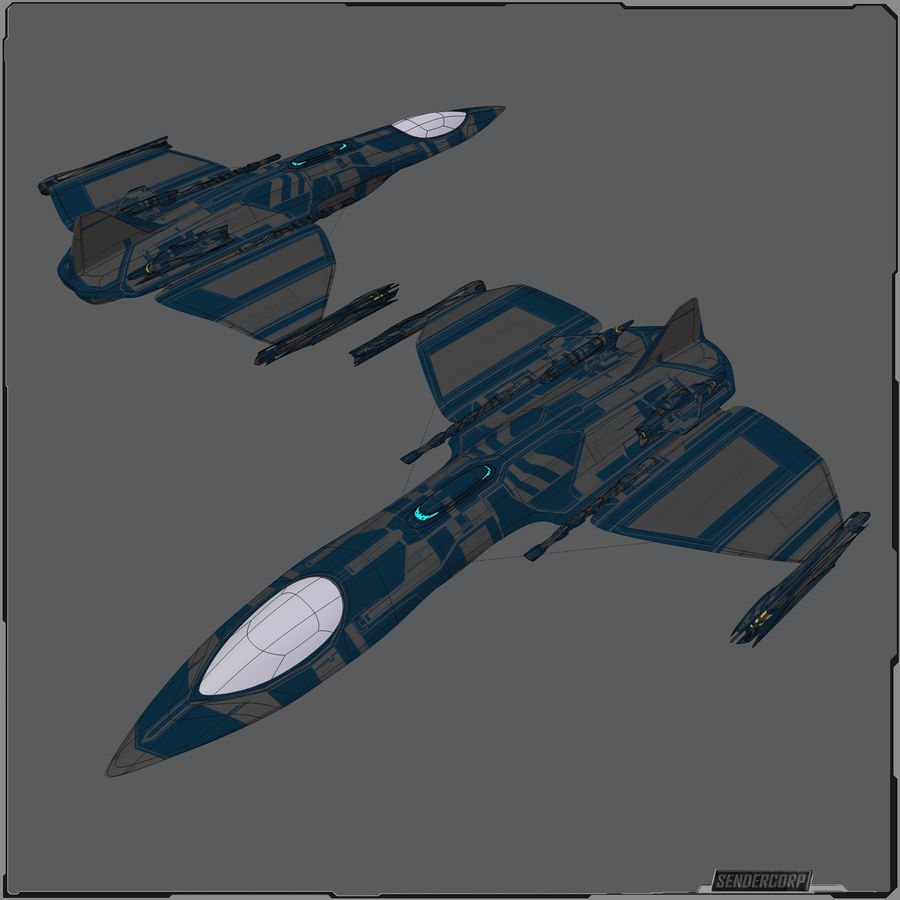 Gunship royalty-free 3d model - Preview no. 5