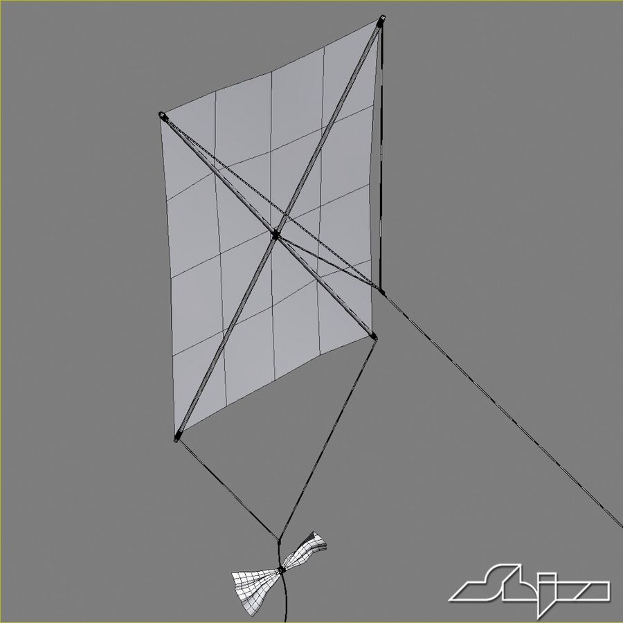 Kite 2 Rectangle royalty-free 3d model - Preview no. 7
