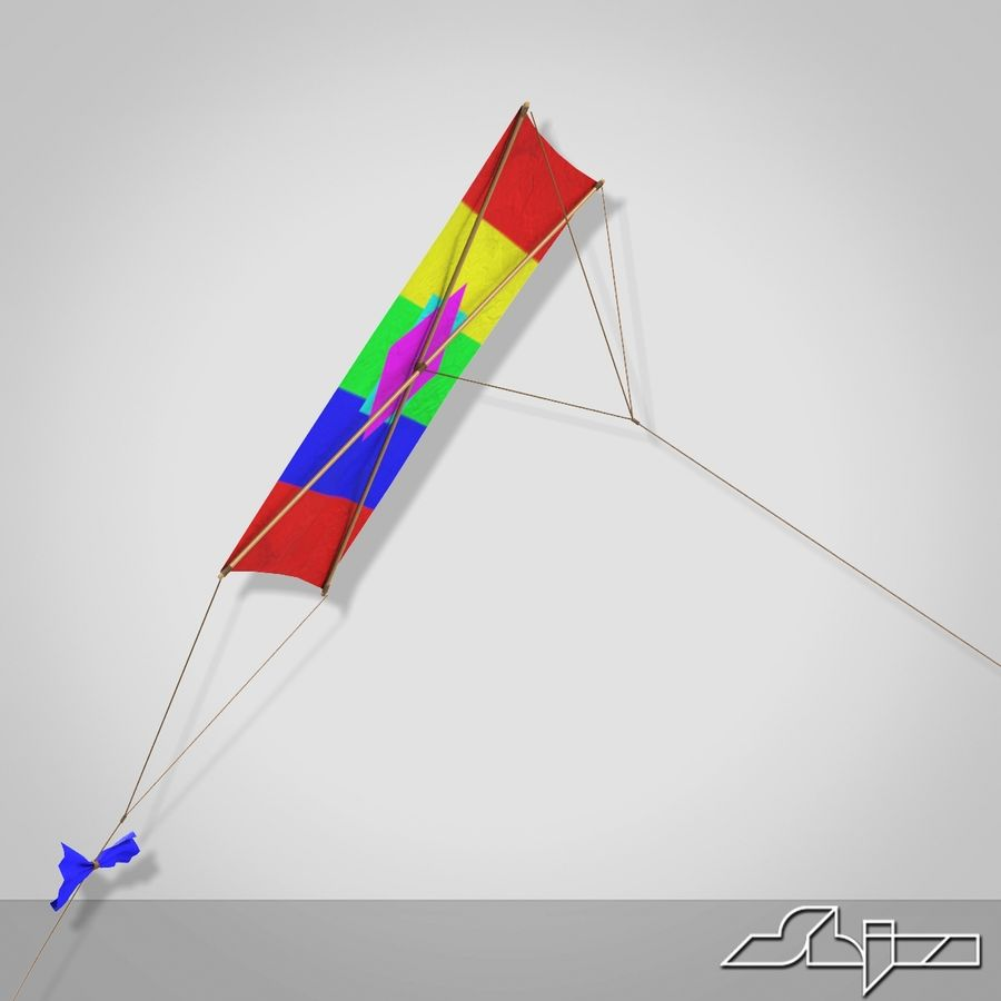 Kite 2 Rectangle royalty-free 3d model - Preview no. 4