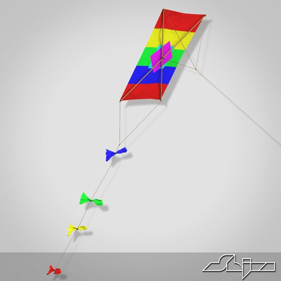Kite 2 Rectangle royalty-free 3d model - Preview no. 2