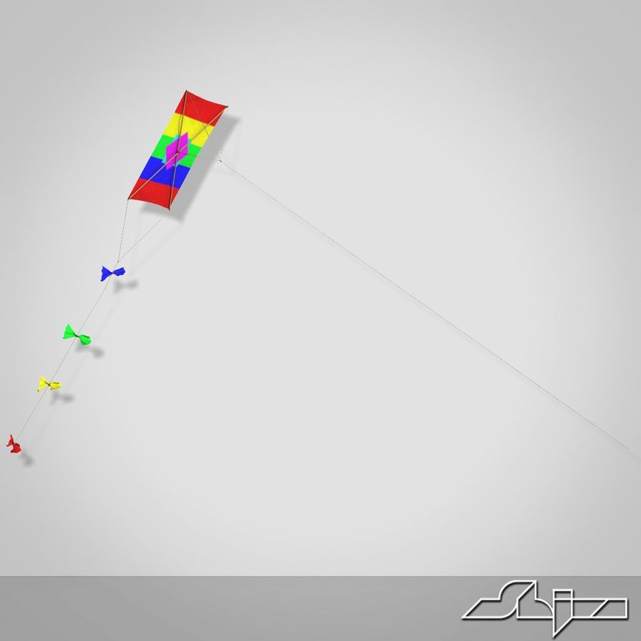 Kite 2 Rectangle royalty-free 3d model - Preview no. 5