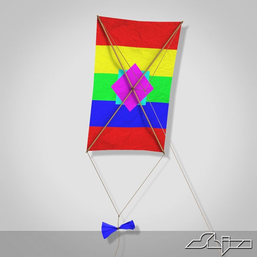Kite 2 Rectangle royalty-free 3d model - Preview no. 3