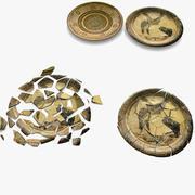 Trasig gammal tallriks Souvenirskada förstör keramik 3d model