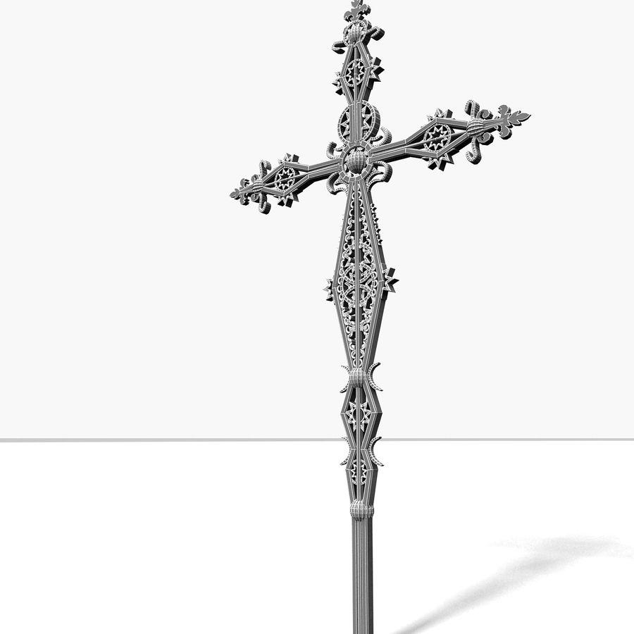 Kirchen-Metallkreuz-Dekor-Statue Art Style Stylish Fancy ornamental relief Symbol royalty-free 3d model - Preview no. 12