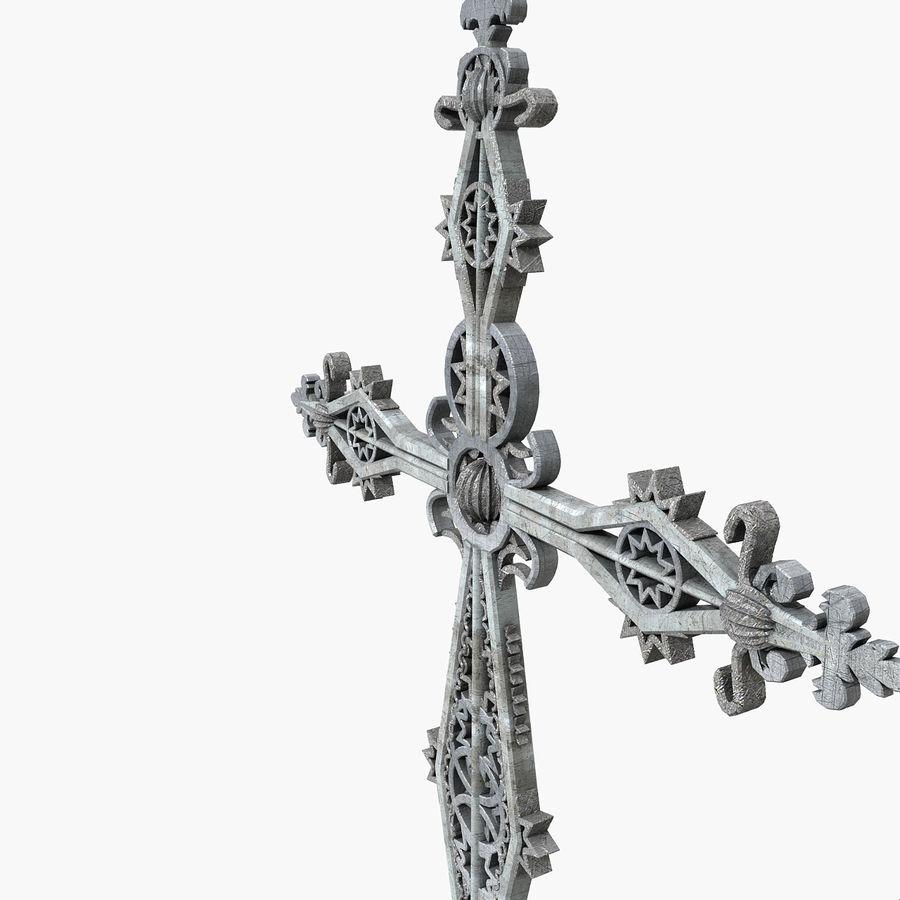 Kirchen-Metallkreuz-Dekor-Statue Art Style Stylish Fancy ornamental relief Symbol royalty-free 3d model - Preview no. 6