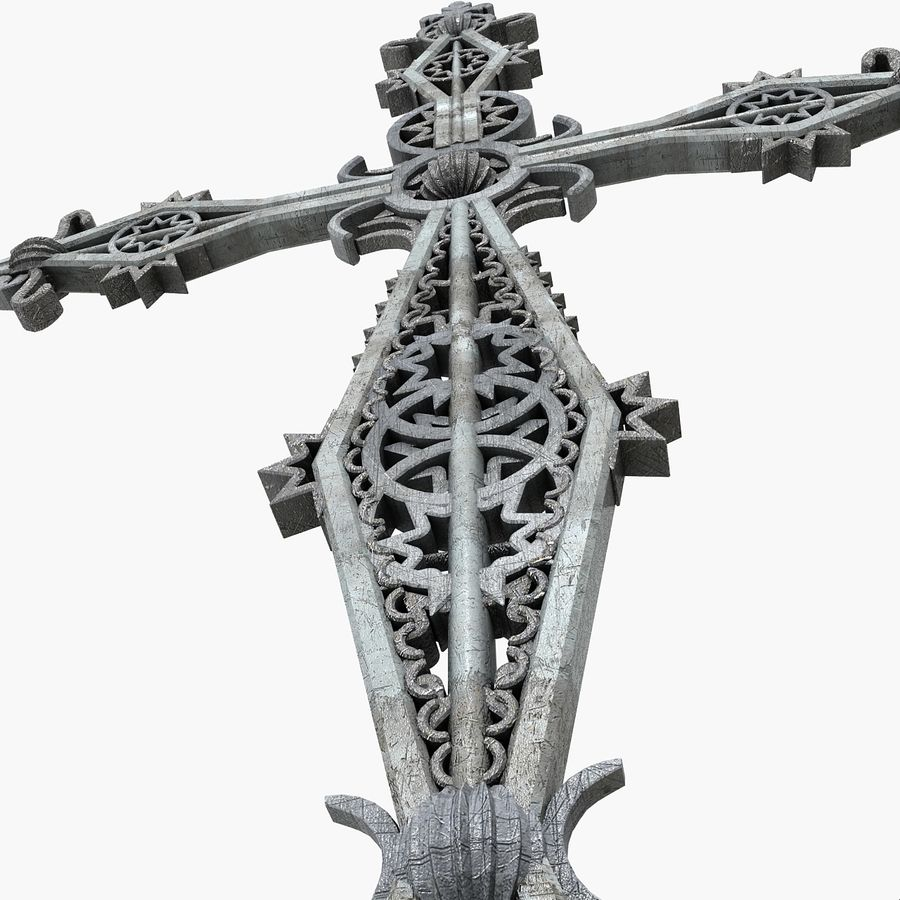 Kirchen-Metallkreuz-Dekor-Statue Art Style Stylish Fancy ornamental relief Symbol royalty-free 3d model - Preview no. 9