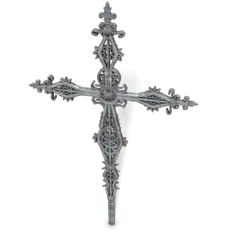 Kirchen-Metallkreuz-Dekor-Statue Art Style Stylish Fancy ornamental relief Symbol royalty-free 3d model - Preview no. 4