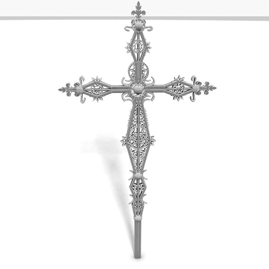 Kirchen-Metallkreuz-Dekor-Statue Art Style Stylish Fancy ornamental relief Symbol royalty-free 3d model - Preview no. 11