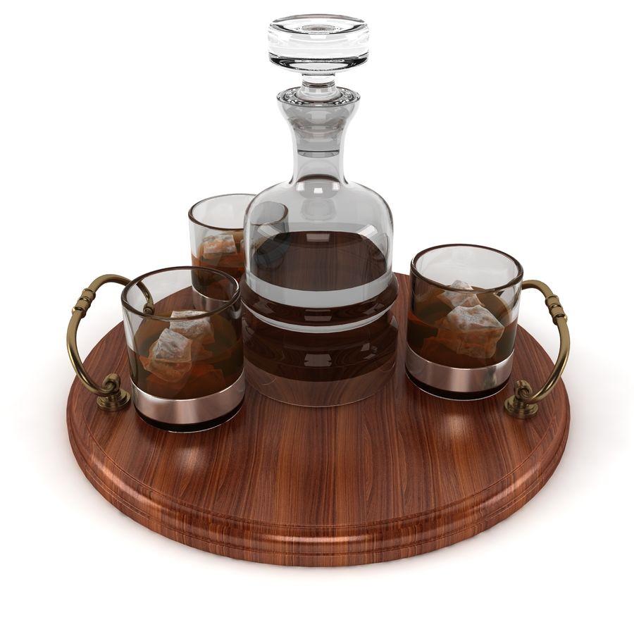 Whisky och serveringsbricka royalty-free 3d model - Preview no. 3