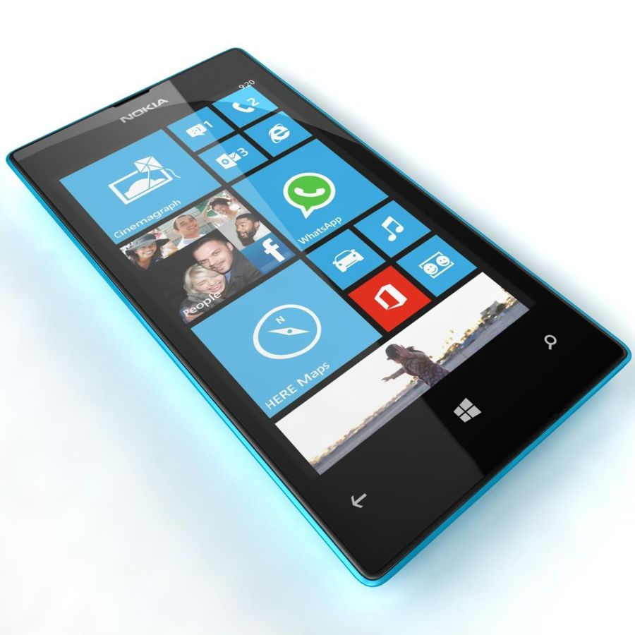 Nokia Lumia 520 Blue royalty-free modelo 3d - Preview no. 16