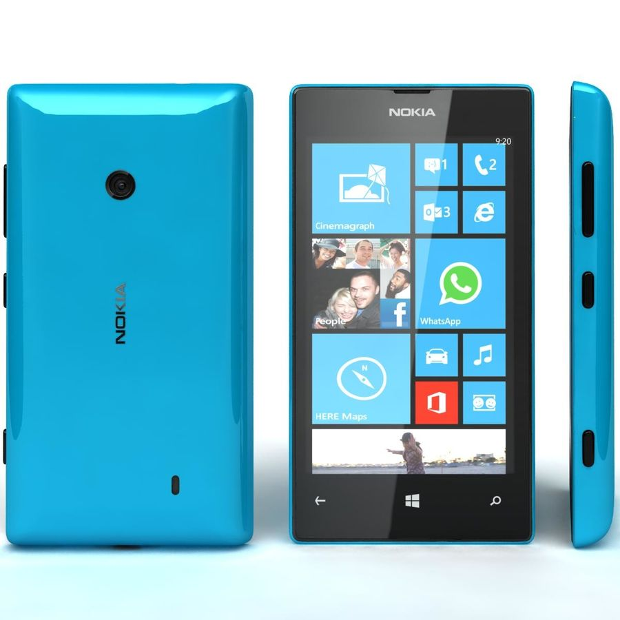 Nokia Lumia 520 Blue royalty-free modelo 3d - Preview no. 4
