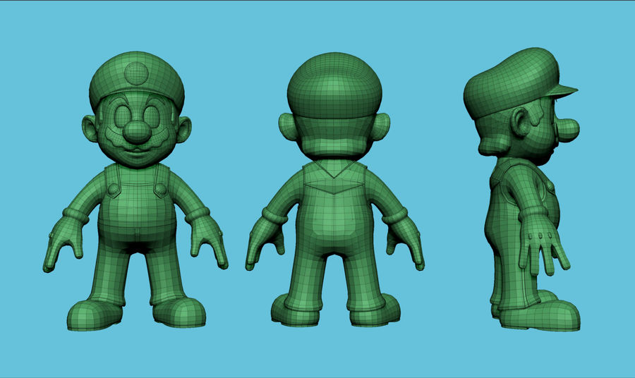 Mario i Yoshi royalty-free 3d model - Preview no. 3