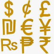 Währungssymbole Sammlung 3d model