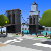 Cartoon City: River Side 3d model