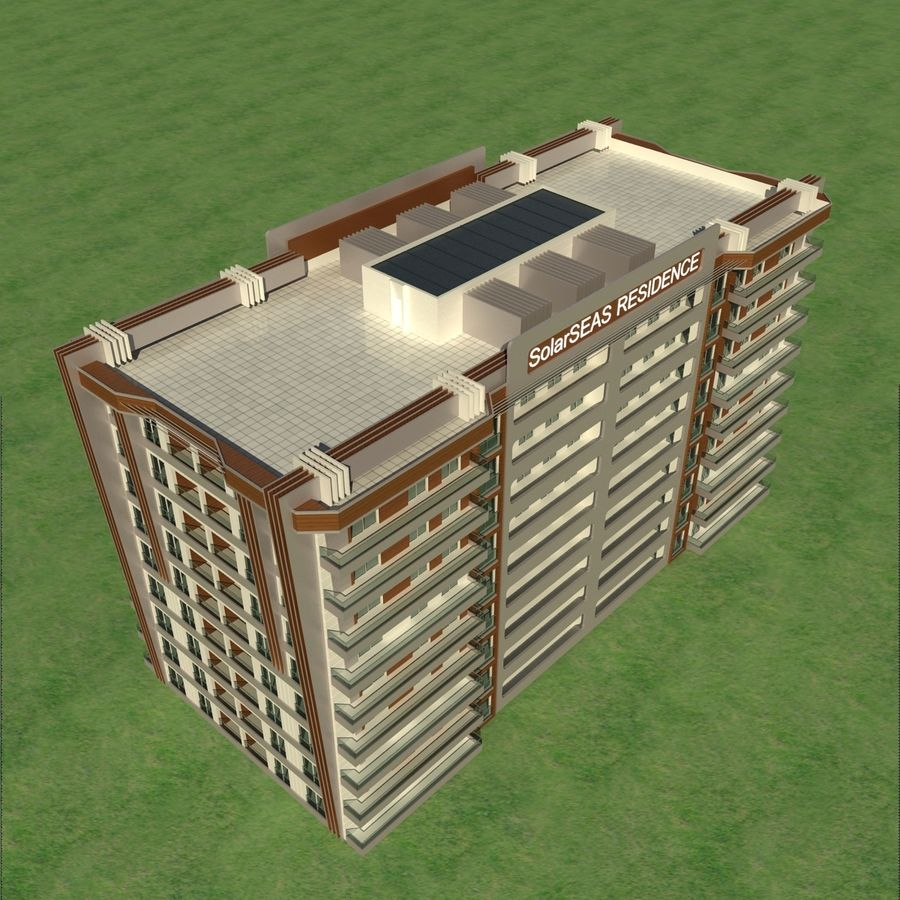 Edificio de la casa de la ciudad 5 royalty-free modelo 3d - Preview no. 4