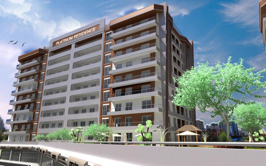 Edificio de la casa de la ciudad 5 royalty-free modelo 3d - Preview no. 9