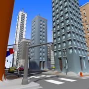 Cartoon City: Down Town 3d model