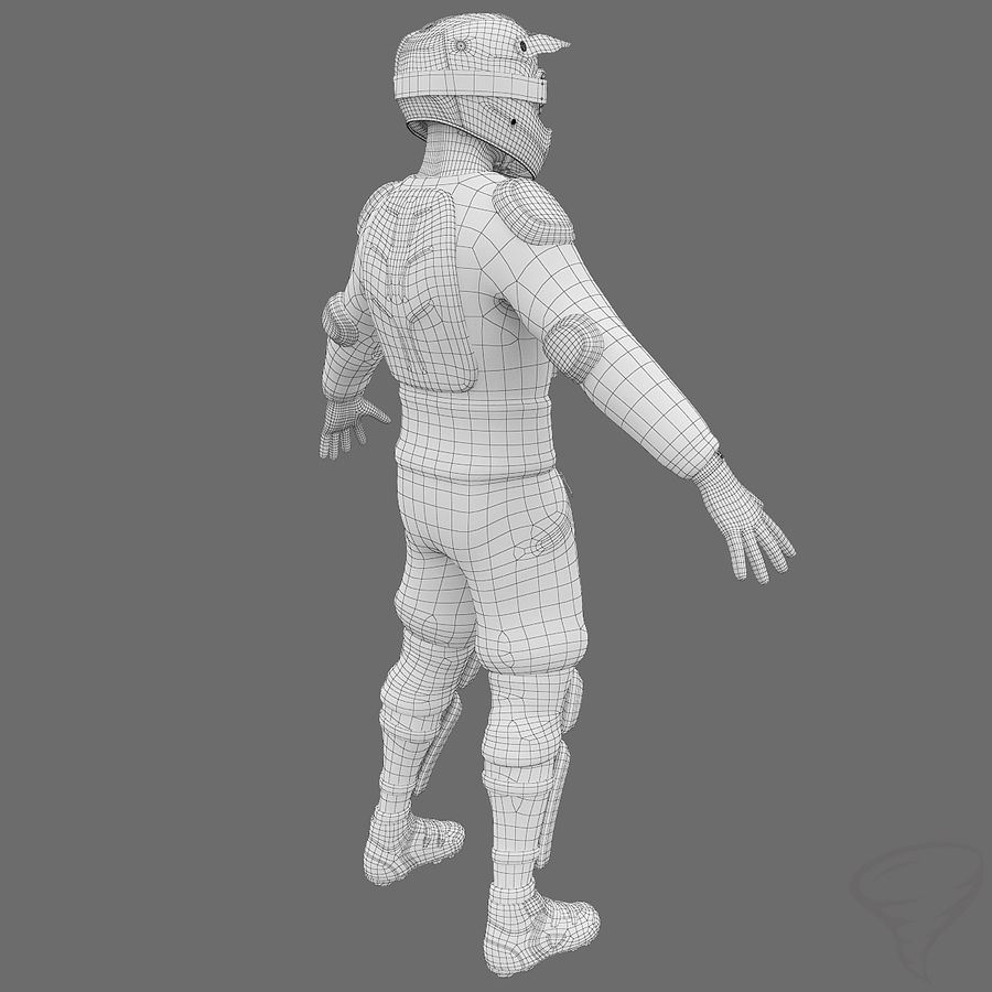 Mountainbiker royalty-free 3d model - Preview no. 36