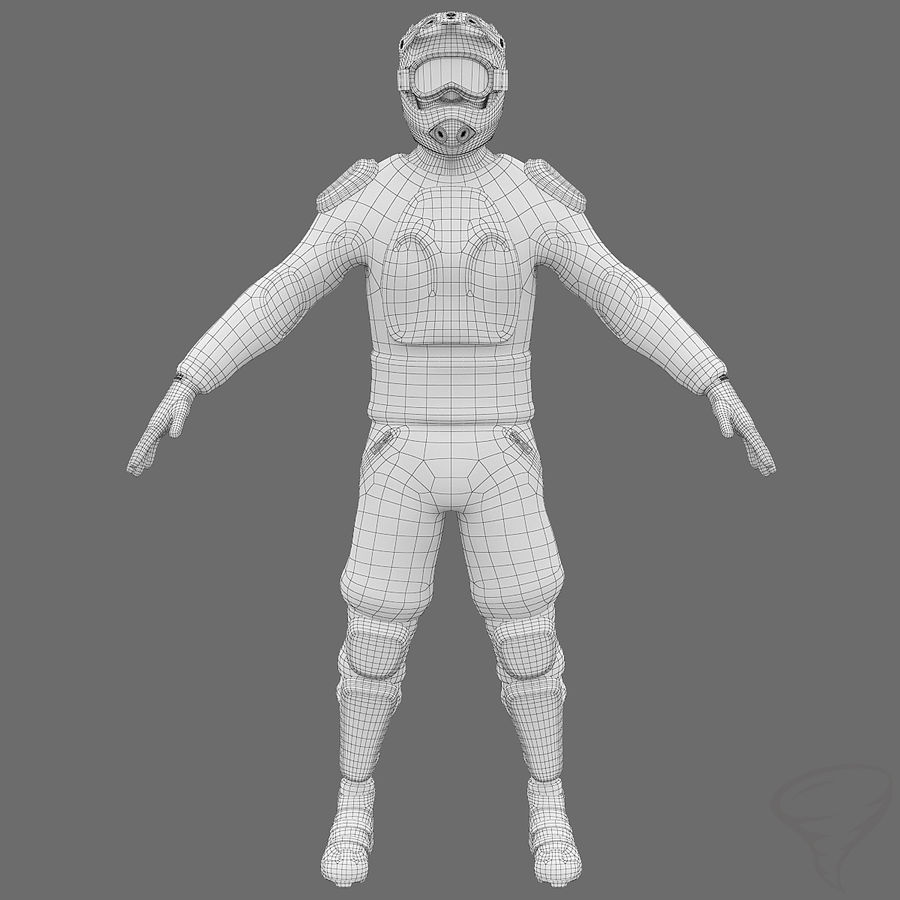 Mountainbiker royalty-free 3d model - Preview no. 1