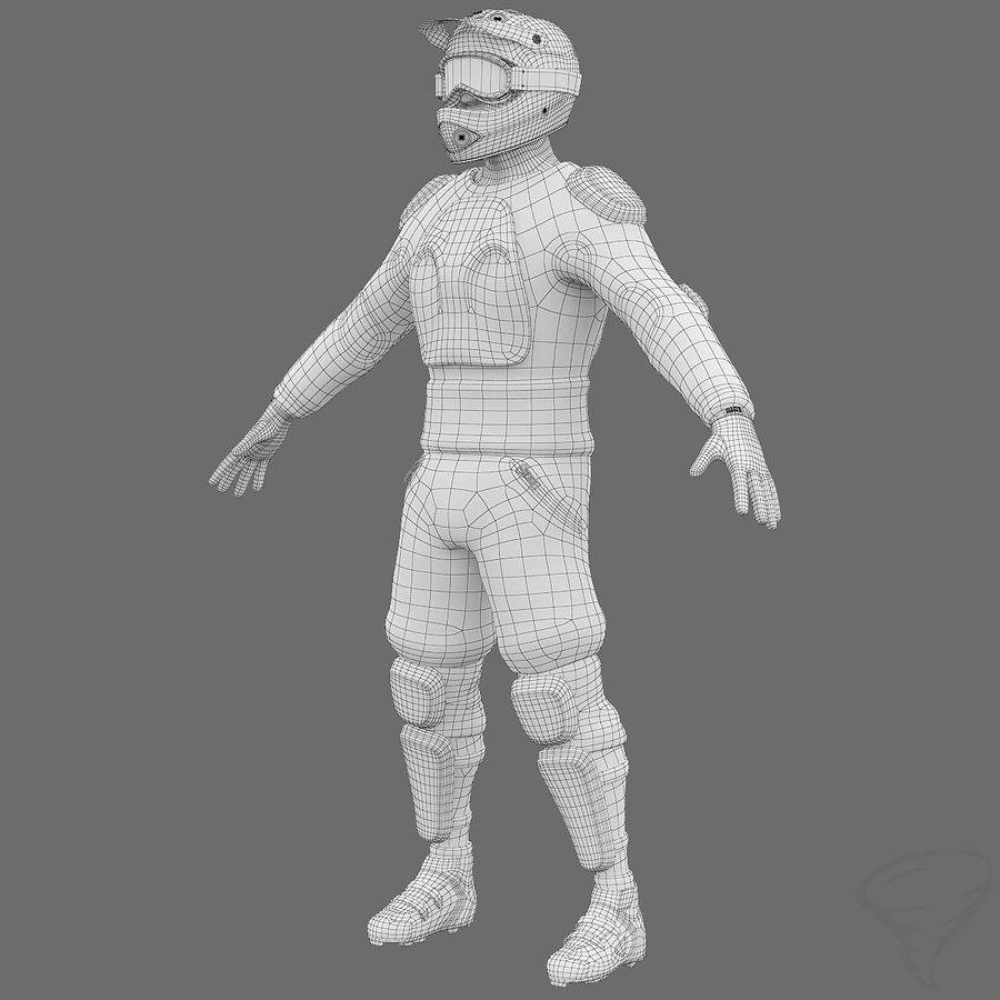 Mountainbiker royalty-free 3d model - Preview no. 2