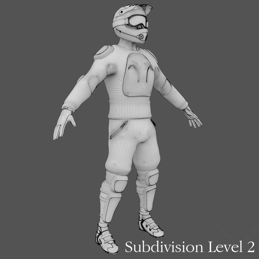 Mountainbiker royalty-free 3d model - Preview no. 29