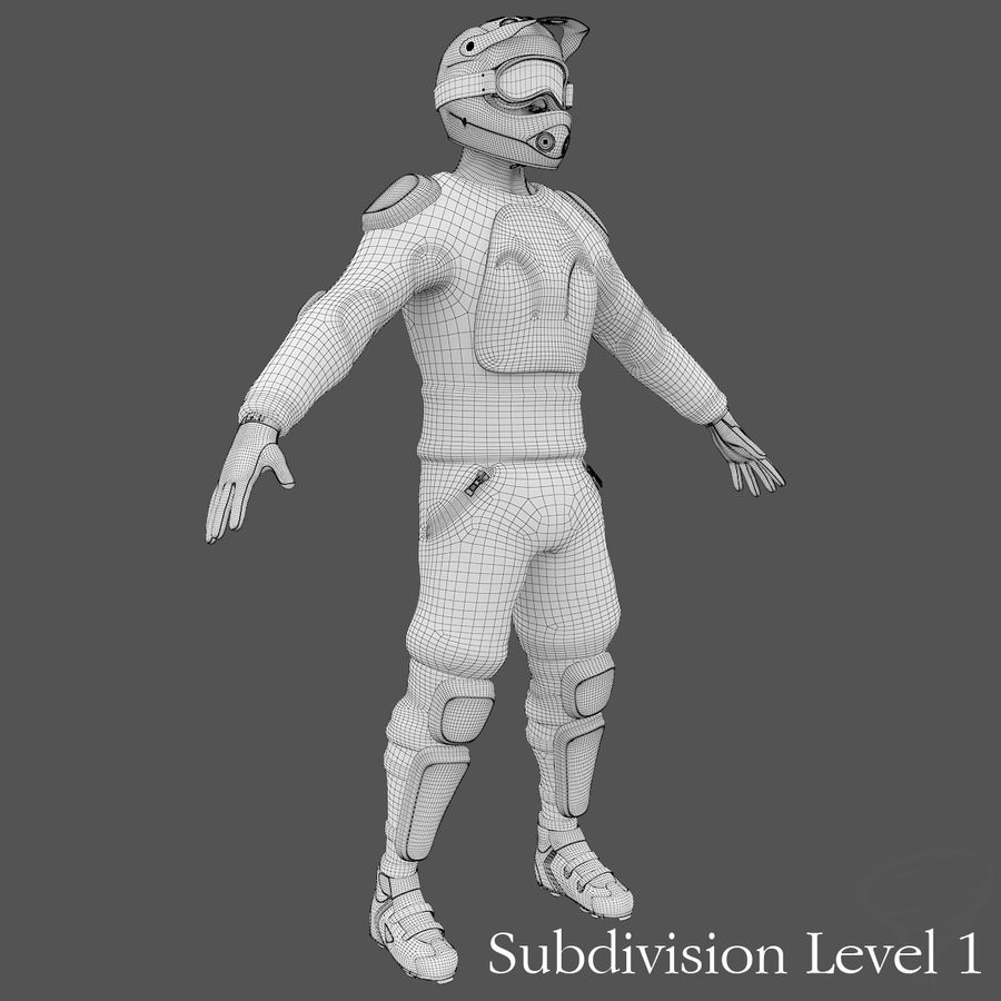 Mountainbiker royalty-free 3d model - Preview no. 28
