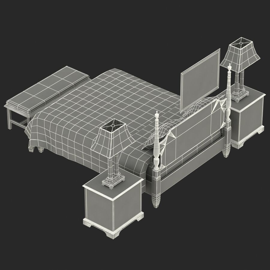 Мебель для спальни royalty-free 3d model - Preview no. 16