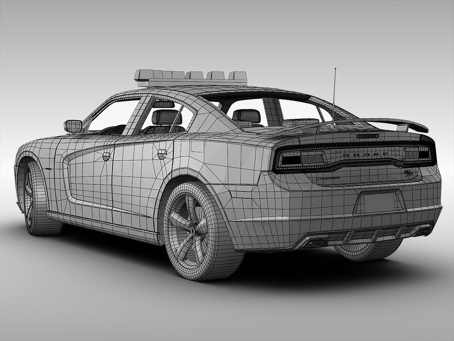 Samochód policyjny Dodge Charger NYPD (2013) royalty-free 3d model - Preview no. 9