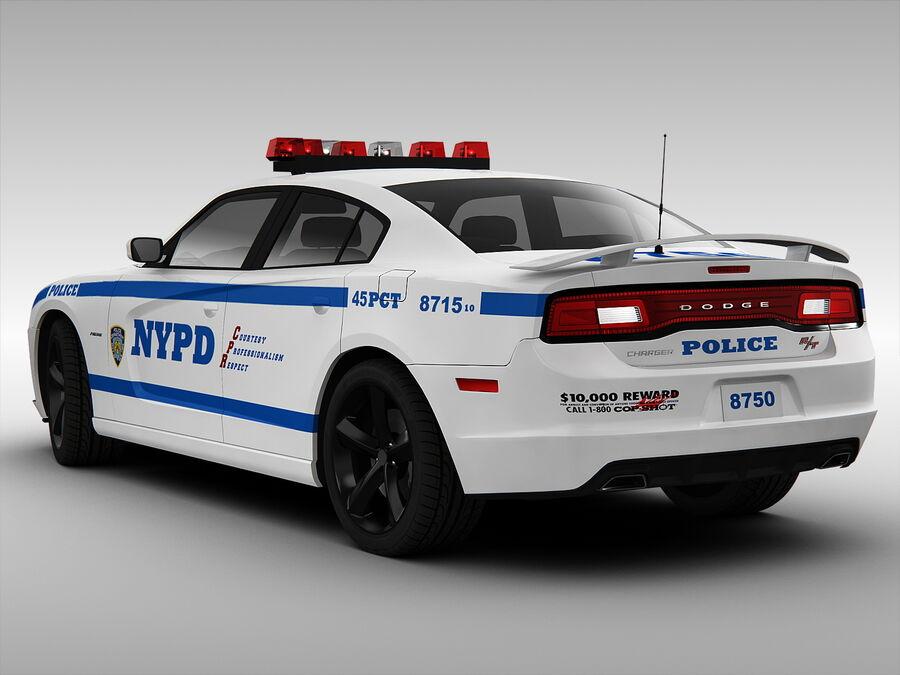 Samochód policyjny Dodge Charger NYPD (2013) royalty-free 3d model - Preview no. 2