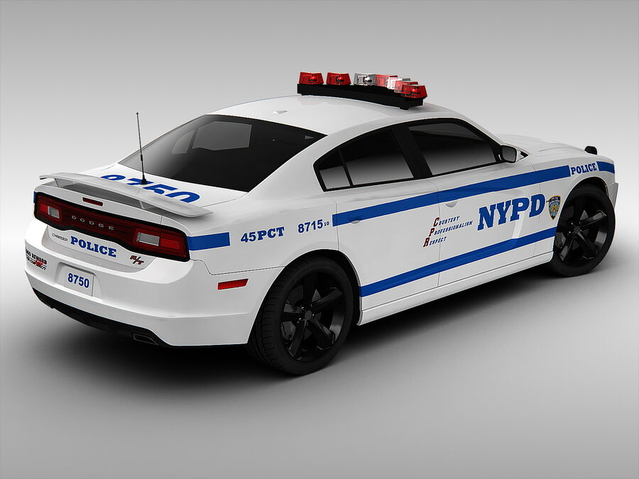 Samochód policyjny Dodge Charger NYPD (2013) royalty-free 3d model - Preview no. 3