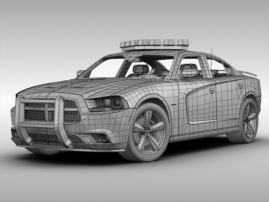 Samochód policyjny Dodge Charger NYPD (2013) royalty-free 3d model - Preview no. 8