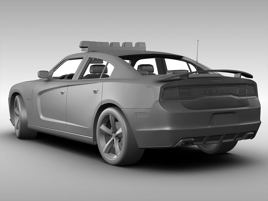 Samochód policyjny Dodge Charger NYPD (2013) royalty-free 3d model - Preview no. 7